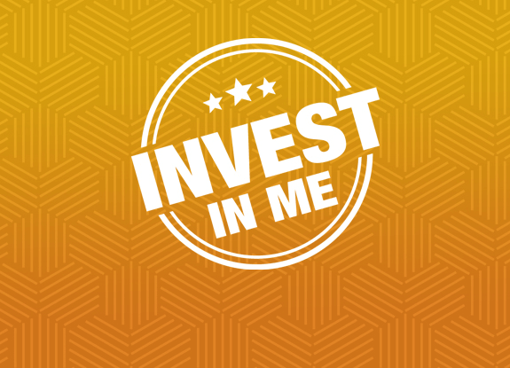 Invest In Me logo on patterned background