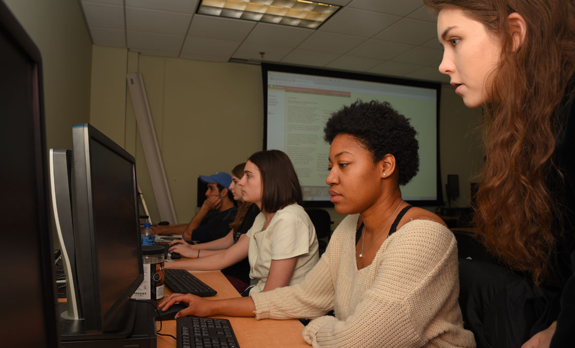 photo of students working on VCU online literary journal Blackbird