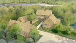 Illustration of Ingers Rice Lodge at VCU Rice Rivers Center